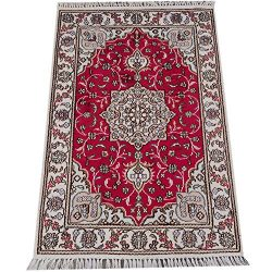 Yilong Carpet 2'x 3′ Hand Knotted Persian Silk Rug Classic Medallion Red Carpet Y08C2x3