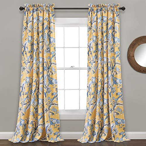 Lush Decor, Yellow Curtains Dolores Darkening Window Panel Set for Living, Dining Room, Bedroom  ...