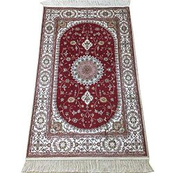 Yilong 2.5′ x 4′ Hand Knotted Silk Carpet Red Classic Persian Floral Medallion Desig ...