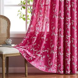 LALA & WONZ Faux Silk Embroidered Semi Sheer Curtains for Living Room, Floral Embroidered Gr ...