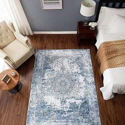 jinchan Blue Vintage Traditional Area Rug for Living Room Floorcover Soft Floral Printed Indoor  ...