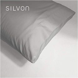 Silvon Anti-Acne Pillowcase Woven with Pure Silver | Antimicrobial, Silk-Soft | Standard, Silver