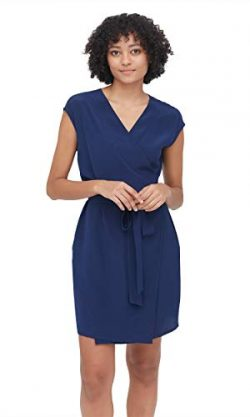 LilySilk Silk V-Neck Wrap Dresses for Women Boycon Slim Sexy Elegant Knee Length Dark Blue XXL