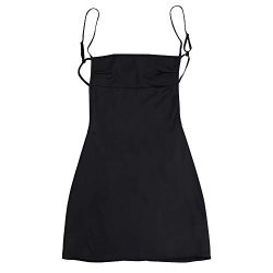 ZAFUL Women's Mini Dress Adjustable Spaghetti Straps Sleeveless Open Back Slip Dress Black-F M