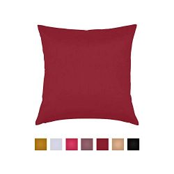 Essencea 20 by 20 Inches, Throw Pillow Cover, Color -Burgundy | Solid Faux Silk European Shams P ...