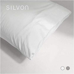 Silvon Anti-Acne Pillowcase Woven with Pure Silver | Antimicrobial, Silk-Soft | Standard, White