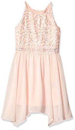 Amy Byer Girls' Big Sequin Lace Bodice Party Dress, Garden Rose, 10