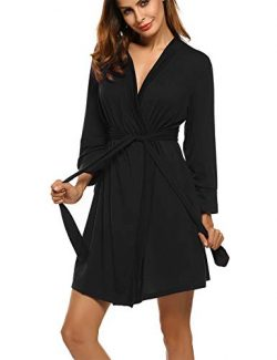 Hotouch Women's Lightweight Knee Length Kimono Bridesmaids Spa Robe Black M
