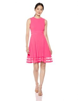 Calvin Klein Women's Sleeveless Round Neck Fit and Flare Dress with Sheer Inserts, Coral, 2
