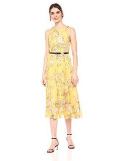 Tommy Hilfiger Women's Chiffon Midi Dress, Marigold Multi, 10