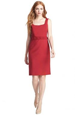 Tory Burch Kari Wool-Blend Sleeveless Crepe Dress, Auburn Red (14)