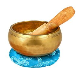 "Reehut 4.2"" Tibetan Meditation Yoga Singing Bowl Set, Hand Hammered Singing Bowl With Mall ..."