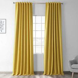 HPD HALF PRICE DRAPES BOCH-171105-96 Blackout Room Darkening Curtain, 50 X 96, Solarium Yellow