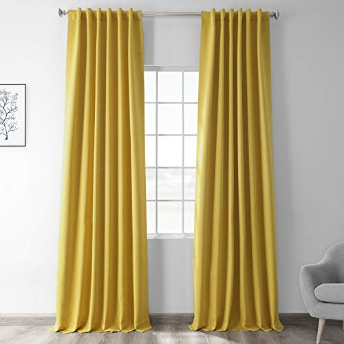 HPD HALF PRICE DRAPES BOCH-171105-96 Blackout Room Darkening Curtain, 50 X 96, Solarium Yellow