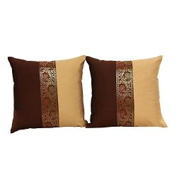 THE ART BOX Indian Cushion Cover Home Décor Indian Ethnic Throw Pillow Covers for Décor (Brown a ...