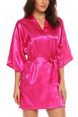Avidlove Women's Kimono Robe Satin Lounge Bridesmaids Short Style Rose Red M