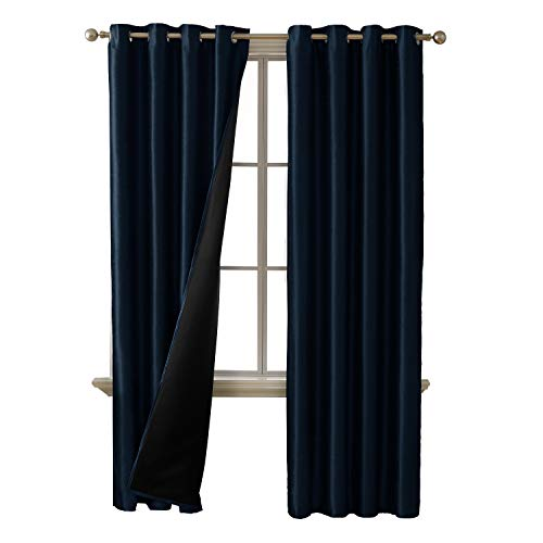Deconovo Total Blackout Curtains Grommet Thermal Insulated Room Darkening Dupioni Silk Lined Cur ...