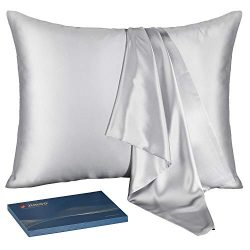 J JIMOO Natural Silk Pillowcase,for Hair and Skin with Hidden Zipper, 22 Momme 600 Thread Count  ...