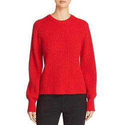 Tory Burch Womens Kennedy Wool Blend Ribbed Trim Pullover Sweater