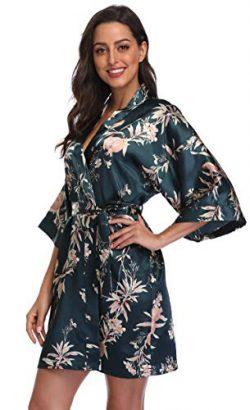 season dressing Women Floral Robes Bridesmaids Short Satin Kimono Sleepwear for Wedding Party, G ...
