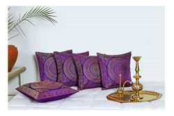 HANDICRAFT-PALACE Brocade Silk Cushion Cover Indian Handmade Square Home Decor Banarasi Faux Man ...
