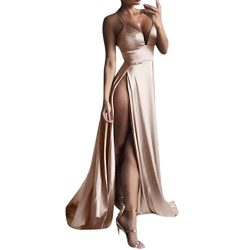 Boomboom Women V Neck Side Split Sleeve Evening Gown Long Dresses Khaki XL