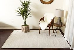 Home Must Haves Shadow 9 Area Contemporary Modern Hand-Tufted White Solid Silk Carpet Rug for Li ...