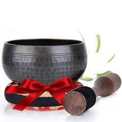 Silent Mind ~ Tibetan Singing Bowl Set ~ Beaten Antique in Matte ~ With Dual Surface Mallet and  ...