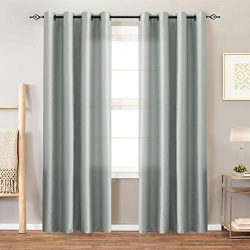 Faux Silk Satin Curtains for Bedroom 84 inches Long Window Panels for Living Room Light Reducing ...