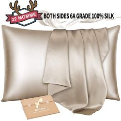 Winjoy Silk Pillowcase for Hair and Skin,22 Momme 100% Natural Mulberry Silk Pillowcases Queen S ...