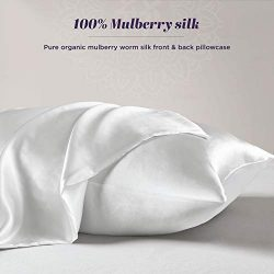 100% Natural Silk Pillowcase for Hair and Skin – Organic Mulberry Silk Pillow Case with Zi ...