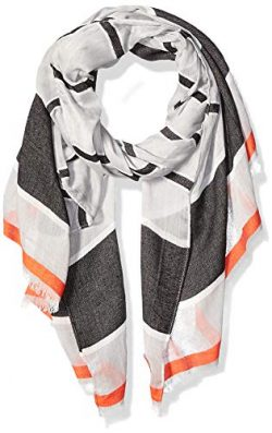 Calvin Klein Women's Striped Chambray Scarf, Grey, One Size