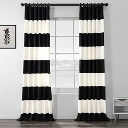 PRCT-HS06-84 Horizontal Stripe Cotton Curtain, Onyx Black/Off-white, 50″ x 84″