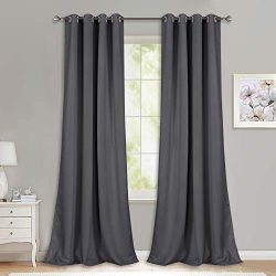 NICETOWN Bedroom Blackout Curtains Panels – (52 inches by 108 Inch, Grey, Set of 2) Triple ...