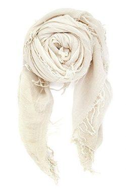 Chan Luu Women's Combo Cashmere Silk Scarf 62″x 58″ in Eggshell