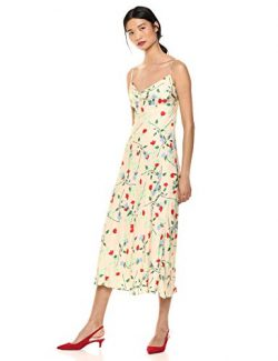 C/MEO COLLECTIVE Women's Sleeveless MIDI Slip Dress, Apricot Floral – Sectional, M