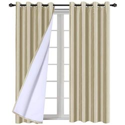 H.VERSAILTEX Faux Silk Blackout Curtains for Bedroom Living Room Energy Saving Thermal Insulated ...