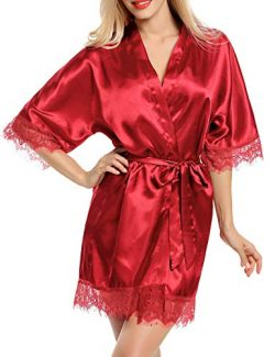 Avidlove Women Kimono Robe Satin Nightwear Lace Trim Lingerie Sleepwear Wine Red Small