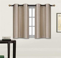 Fancy Linen 2 Panel Faux Silk Blackout Curtain Set Solid Taupe with Grommet Top Room Darkening S ...