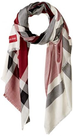 Calvin Klein Women's Large Plaid Scarf, barn Red, One Size