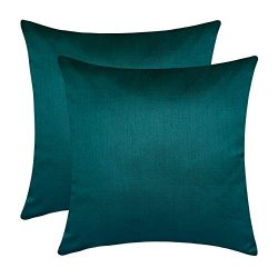 The White Petals Set of 2 Dark Teal Art Silk Pillow Covers, Plain Silk Cushion Cover, Solid Colo ...