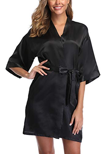 UrHot Women's Short Kimono Robe Bridal Party Robe for Bridesmaid Satin Sleepwear Black
