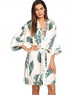 Floerns Women's Tropical Bridesmaid Satin Kimono Oblique V Neck Bathrobe Robes Multi M
