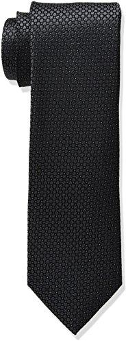 Calvin Klein Men's Black Tie, Black Micro Solid, X-Long