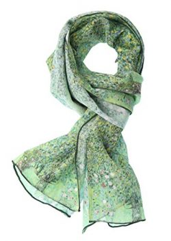Salutto Women 100% Silk Scarves Van Gogh Paul Gauguin Monet Painted Scarf (25)