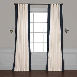 PRCT-VC1713-108 Vertical Colorblock Panama Curtain, Fresh Popcorn & Polo Navy, 50 x 108