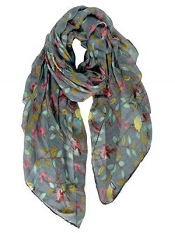 GERINLY Cozy Scarves for Women Fashion Floral Birds Print Scarf Christmas Head Wrap (Dark Grey)