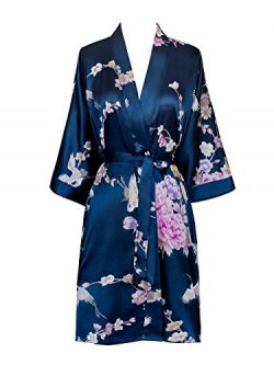 Old Shanghai Women's Kimono Short Robe – Chrysanthemum & Crane – Navy