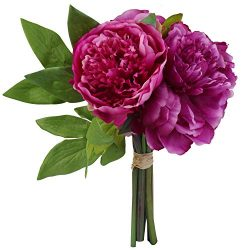 Yufenge Artificial Flowers Peony Bouquet Silk Home Decor Wedding Decoration 1 Pack (Purple-L)