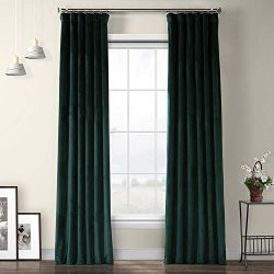 VPYC-179759-96 Heritage Plush Velvet Curtain, 50 x 96, Forestry Green